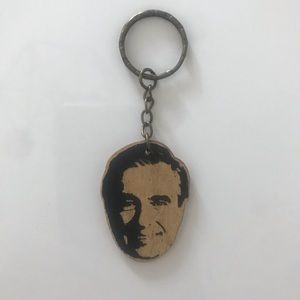Mister Rodgers Handcrafted Wood Keychain